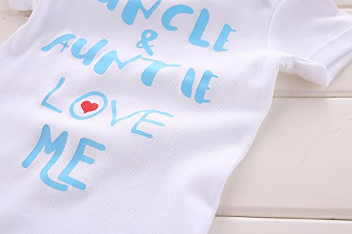Winzik Newborn Baby Boys Girls Outfits Uncle Auntie Love Me Letters Print Baby Onesie Romper Jumpsuit T-Shirt (0-3 Months, White Blue) by Winzik (Image #3)'