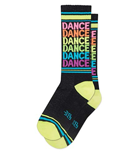 Gumball Poodle Dance Ribbed Gym Socks in Neon Rainbow and Black One size fits -