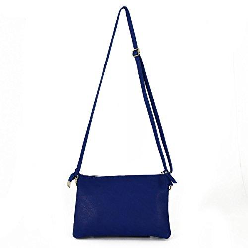 3fb72399b3 Pochette In Vera Pelle Con 2 Scomparti Colore Blu Pelletteria Toscana Made  In Italy Borsa Donna