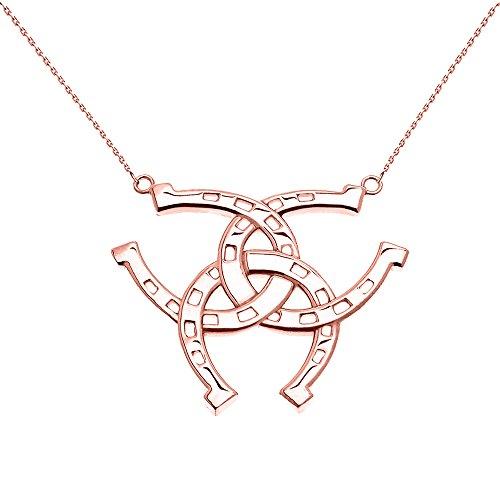 Collier Femme Pendentif 10 ct Or Rose Criss Cross Tripler Fer A Cheval Bonne Chance (Livré avec une 45cm Chaîne)