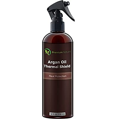 Argan Oil Hair Protector Spray - 4 oz Thermal Heat Protectant Against Flat Iron - Sulfate Free 100% Organic & Natural Prevents Damage Dryness Breakage & Split Ends Premium Nature