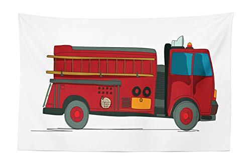 Lunarable Fire Truck Tapestry, Cartoon Sketch Fire Service Vehicle with a Ladder on The Side Emergency Rescue, Fabric Wall Hanging Decor for Bedroom Living Room Dorm, 45 W X 30 L Inches, Multicolor