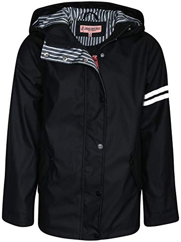 Urban Republic Girls Lightweight Vinyl Waterproof Raincoat with Hood, Black, Size - Sleeve Jacket Long Vinyl