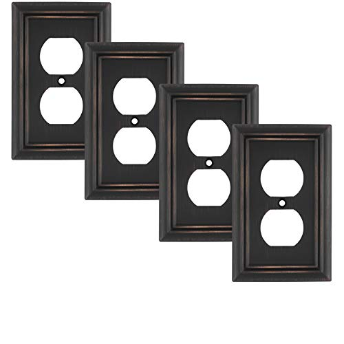 Pack of 4 Wall Plate Outlet Switch Covers by SleekLighting | Decorative oil rubbed bronze | Variety of Styles: Decorator/Duplex/Toggle / & Combo | Size: 1 Gang Duplex ()
