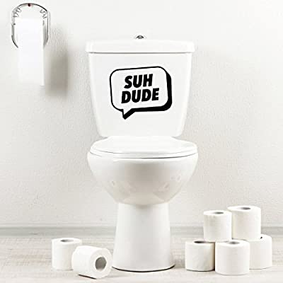 Seat Bath Black StickAny Bathroom Decal Series Suh Dude Speech Bubble Sticker for Toilet Bowl