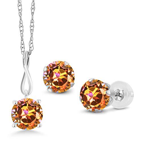 Gem Stone King 3.00 Ct Ecstasy Mystic Topaz 10K White Gold Pendant Earrings Set With Chain ()