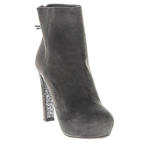 Miu Miu Women's Suede Glittered Platform Booties Leather Gray 39.5 M - Miu Suede Miu
