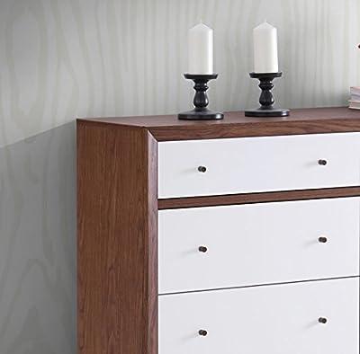 Baxton Furniture Studios Harlow Mid-Century Wood 6 Drawer Storage Dresser, Medium, White and Walnut
