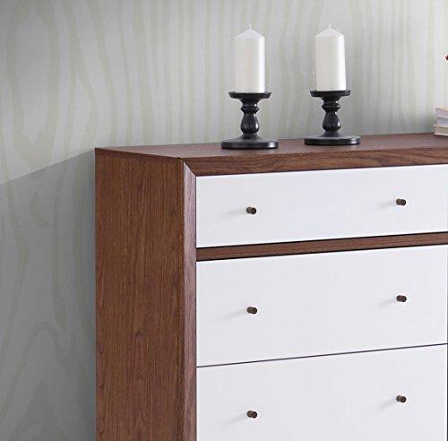 Bedroom Baxton Furniture Studios Harlow Mid-Century Wood 6 Drawer Storage Dresser, Medium, White and Walnut
