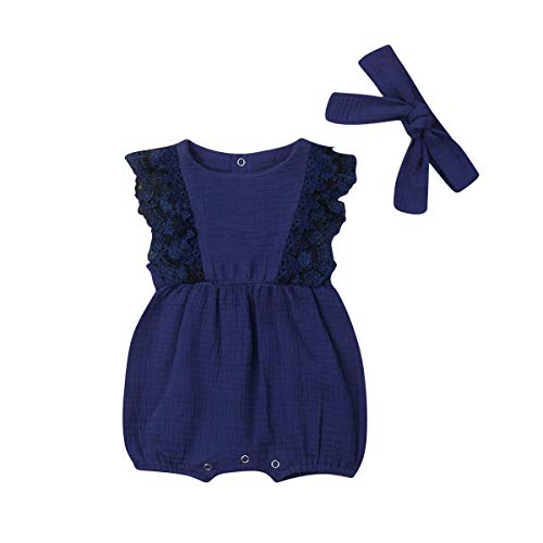 (Bowanadacles Newborn Baby Girl Romper Jumpsuit Cotton Linen Sleeveless Ruffled Bodysuit Infant Summer Clothes Outfits (Blue 2, 90(12-18M)))