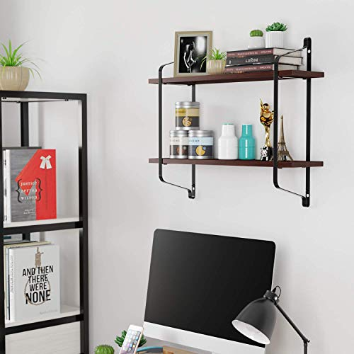 (Homfa Floating Shelves Wall Mounted, 2 Tier Wood Storage Shelves Iron Rack for Bedroom, Bathroom, Living Room, Kitchen, Espresso)