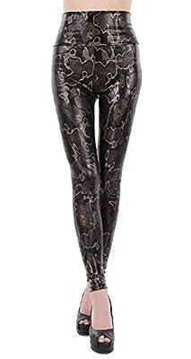 Jescakoo Women's Sexy Print Mid-waist Spandex Skinny Legging Pants One Size