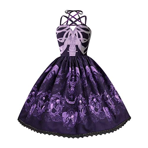 1950S Punk Skull Dress for Women Plus Size Retro Halter Strap Hepburn Swing Party Dresses Cosplay Performance Costume Purple