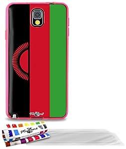 """Carcasa Flexible Ultra-Slim SAMSUNG GALAXY NOTE 3 / N9000 de exclusivo motivo [Bandera Malawi ] [Rosa] de MUZZANO  + 3 Pelliculas de Pantalla """"UltraClear"""" + ESTILETE y PAÑO MUZZANO REGALADOS - La Protección Antigolpes ULTIMA, ELEGANTE Y DURADERA para su SAMSUNG GALAXY NOTE 3 / N9000"""