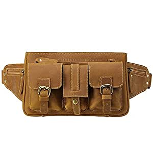 RJW Crazy Horse Leather Fashion Casual Men's Bag Outdoor Men's Leather Waist Bag Leather Crossbody Bag (Brown) Fashion