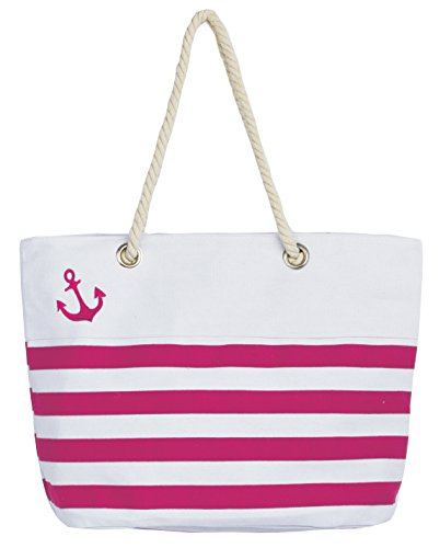 Leisureland Waterproof Canvas Rope Handle Beach Tote Bag (Anchor Fuchsia Stripe)