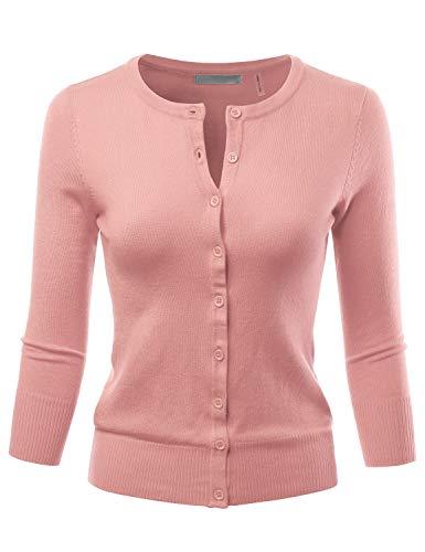 LALABEE Women's 3/4 Sleeve Crewneck Button Down Knit Sweater Cardigan PEACHBEIGE S ()