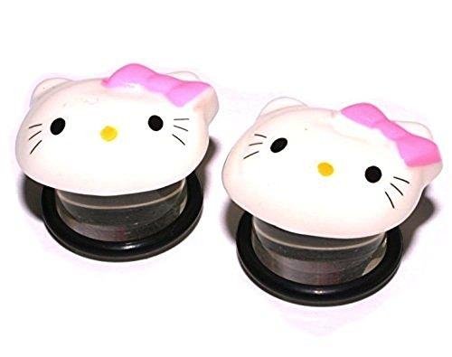 Hello Kitty Plugs / Gauges Single Flare Acrylic - Hello Kitty Ear Plugs