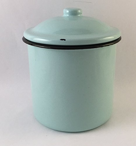 Vintage Style Metal Enamelware Canister Classic Turquoise Blue 5