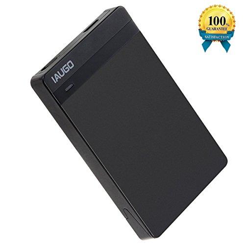 Hard Drive Enclosure IAUGO USB 3.0 External Hard Drive Disk Enclosure Case for 9.5mm 7mm 2.5 Inch SATA HDD and SSD,Tool-free,Transfer Support UASP SATA and Hot Plug (Black)
