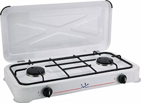 Jata CC305 Cocina de Gas para Camping con 2 quemadores, 0 W, 0 Decibeles, Acero Inoxidable, Blanco