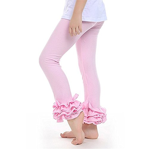 Kaiya Angel Little Girl's Ruffle Leggings Toddler Girl Ruffle Pants,Light Pink,100(2-3 Year) by Kaiya Angel