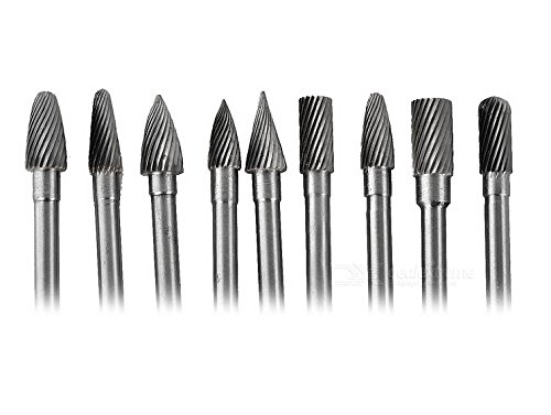9 Pieces Tungsten Carbide Single Cut Rotary Burr SET 1/4'' Shank Fit 6mm Shank by Lian dong