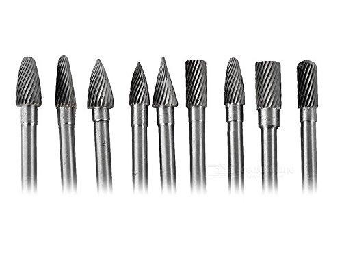 9 Pieces Tungsten Carbide Single Cut Rotary Burr SET 1/4