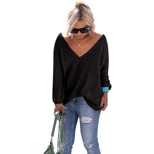 WOCACHI Damen Pullover Frauen Langarm-Strickpullover lose Strickjacke Pullover Sweater Tops Strick (M, Schwarz)