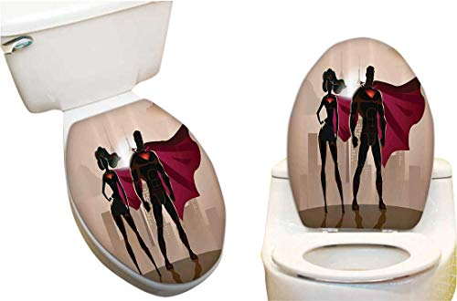 (Toilet Cover Sticker Super Woman Man Heroes City Hot Couple Costume Creative Toilet Cover Stickers)