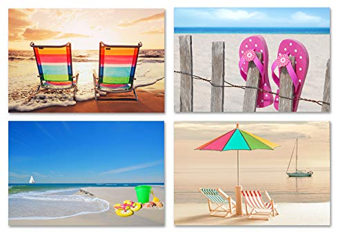 Fun Beach Greeting Cards - Summer Note Cards - Blank on the Inside - Includes Cards and Envelopes - 4 Unique Designs - 5.5