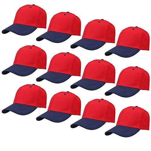 - Falari 12-Pack Wholesale Plain Baseball Cap Adjustable Size Solid Color (Red + Navy)