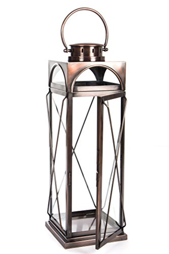(H Potter Decorative Lantern and Candle Holder Outdoor Indoor Light Centerpiece with Antique Copper Finish Glass Stunning Decor for Home Wedding Parties Gar609 Large)