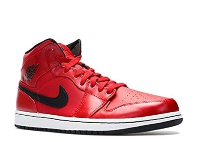 Nike Men's Air Jordan 1 Mid Red/Black/White Basketball Shoe - 12 D(M) US
