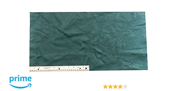 2 Square Feet Upholstery Leather Piece Cowhide Forest Green Light Weight 12 x 24