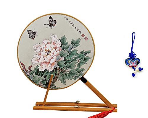 (ZHAMS Bamboo Silk Handle Round Hand Fan,Chinese Tang Dynasty Style with Butterfly Embroidery Pendant (E))