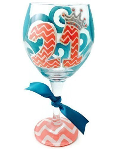 Cheap Hand Painted – Free Personalization – 21st Chevron Princess Personalized Monogram Wine glass Coral and Teal