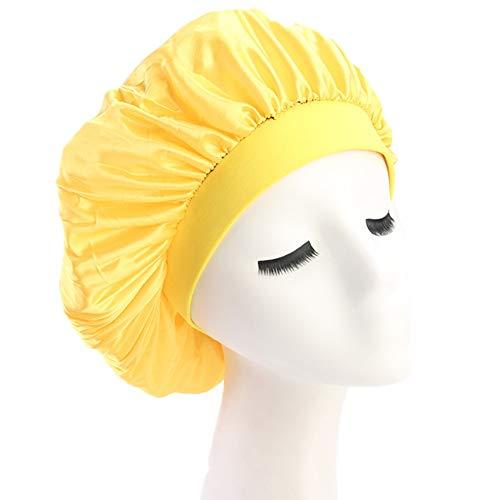 (Elastic Wide Band Night Sleep Cap Hair Bonnet Hat Sleeping Head Cover for Women Girls (Yellow))