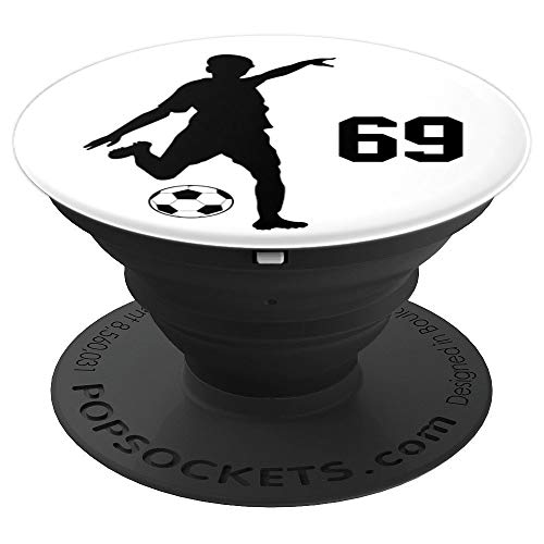 Number 69 #69 Soccer Gifts for Men Boys Teens Year Old - PopSockets Grip and Stand for Phones and Tablets -