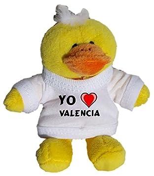 Pollo de peluche (llavero) con Amo Valencia en la camiseta (ciudad / asentamiento