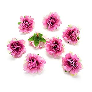 Fake flower heads in Bulk Wholesale for Crafts Peony Flower Head Silk Artificial Flowers for Wedding Decoration DIY Party Home Decor Decorative Wreath Fake Flowers 30 Pieces 4.5cm (Rose red) 39