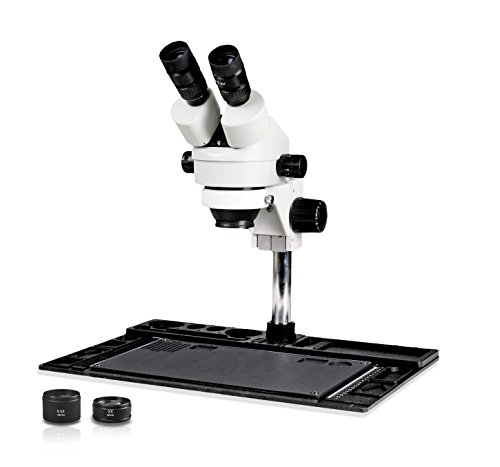 Parco Scientific Simul-Focal Trinocular Zoom Stereo Microscope,10xWF Eyepiece,3.5x-90x Magnification,0.5X/&2X Auxiliary Lens,Pillar Stand W//Large Base,144-LED Ring Light 5.0MP Digital Eyepiece Camera