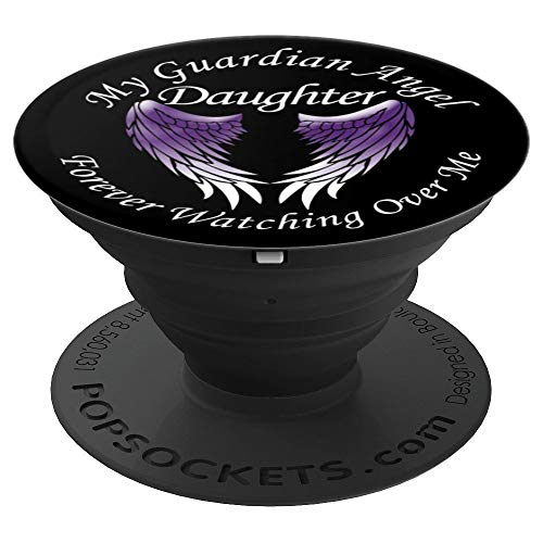 Pedestal Memorial (Daughter Guardian Angel Memorial with Purple Angel Wings - PopSockets Grip and Stand for Phones and Tablets)