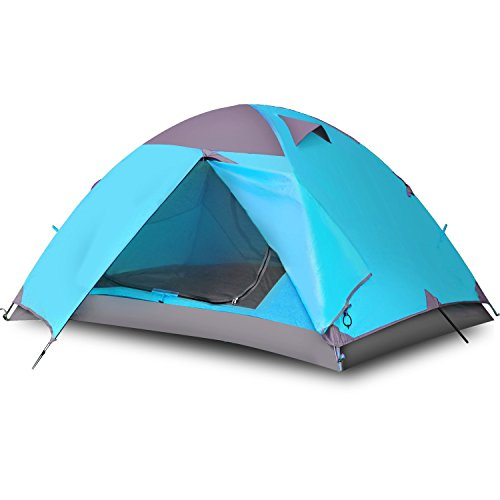 Vicona 2 Person Double Layer Camping Tent - Waterproof Lightweight Backpacking Tent for Camping with Carry Bag (Blue)