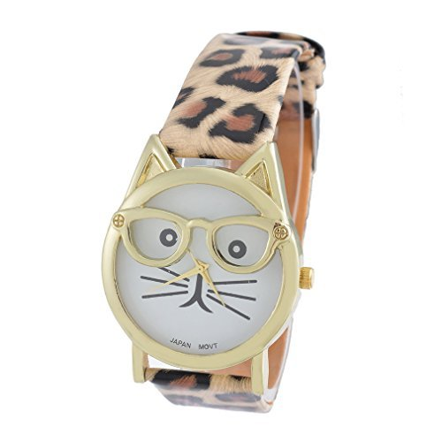 Souarts Leopard Print Strap Cat Face Glasses Dial Artificial Leather Quartz Round - With Round Faces Cats