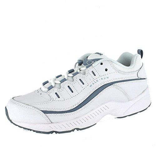 Easy Spirit Women's Romy Sneaker, White/Medium Blue Leather, 7 W US