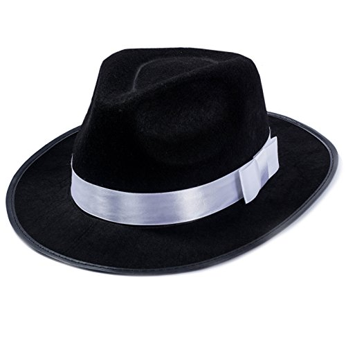 Funny Party Hats Black Fedora Hat - Gangster Hat - Black and White Fedora Hat - Mobster Hat (Fedora Hat) -