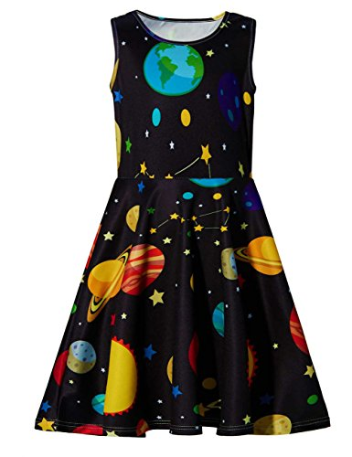Ahegao 8-9 Years Old Summer Outfit Clothes Floral Dresses for Wedding Party Teenager Girl's Cute Planets Round Neck Skirts Size L -