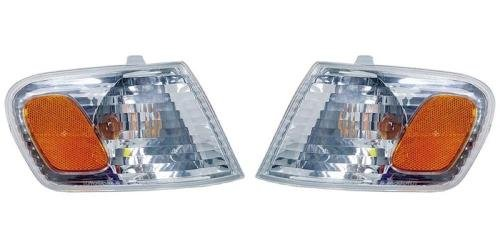 (Go-Parts PAIR/SET OE Replacement for 2001-2002 Toyota Corolla Turn Signal Lights Assemblies/Lens Cover - Front Left & Right (Driver & Passenger) Side For Toyota Corolla)