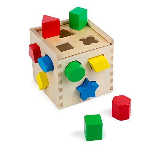 Melissa  Doug Shape Sorting Cube Classic Wooden Toy Developmental Toy EasytoGrip Shapes Sturdy